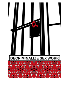 This illustration of an open jail cell and red key (the red in the artwork being inspired by the use of the colour in the sex work advocacy and movement) addresses the need to decriminalize sex work. I believe that sex work is criminalized, not because they've done anything wrong, but because – underneath it all – we've dehumanized/devalued sex workers.